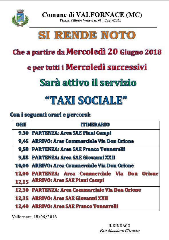 avviso taxi sociale